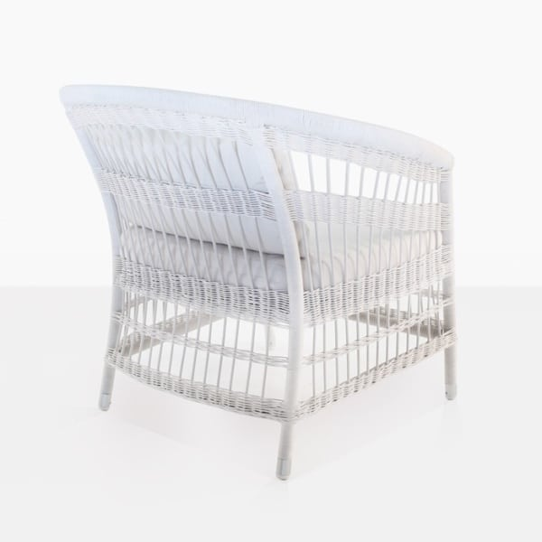 outdoor wicker relaxing chair modern white back view