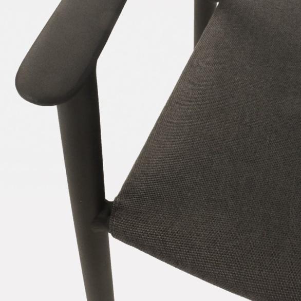 Outdoor Dining Chair aluminum and sunbrella closeup photo