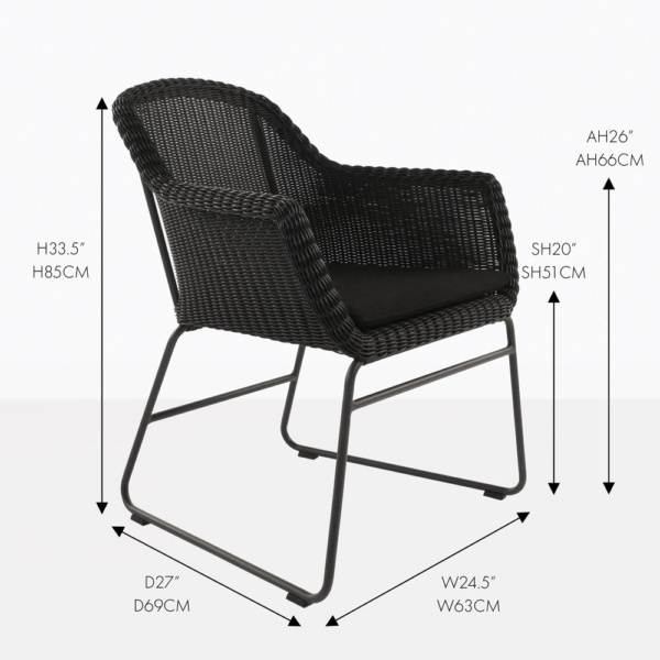 harbour black outdoor wicker dining chair