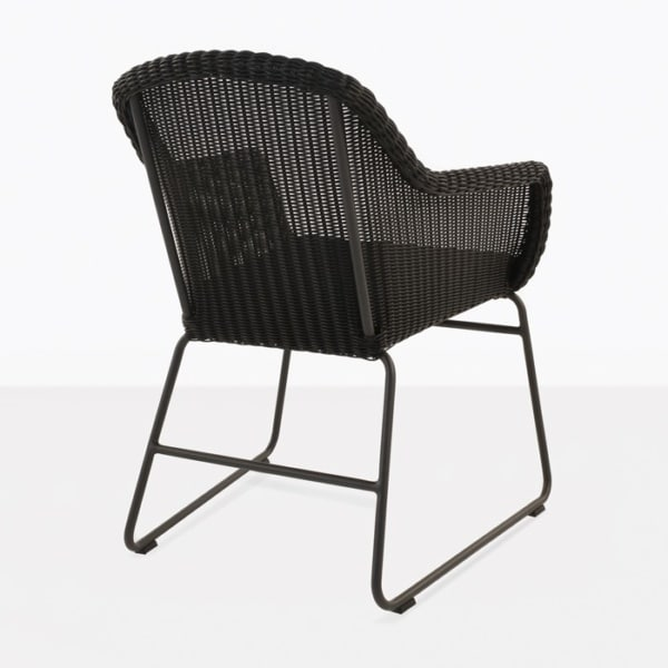 wicker outdoor dining chair back view