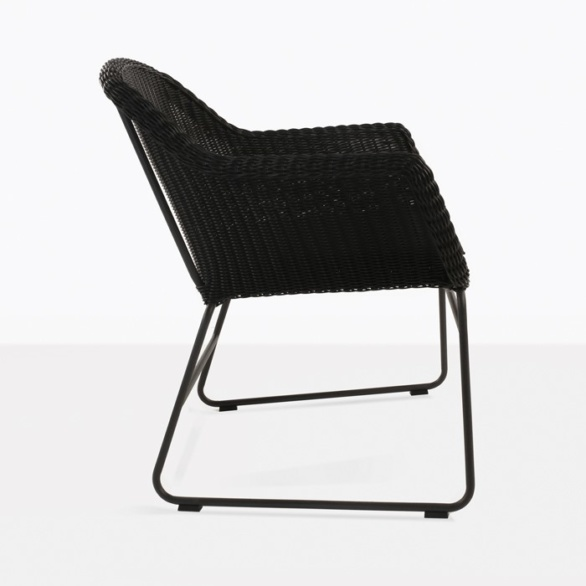 wicker outdoor dining chair in black side view