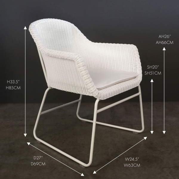 harbour white outdoor wicker dining chair