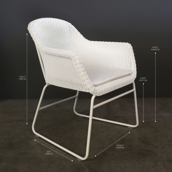 harbour white wicker dining chair