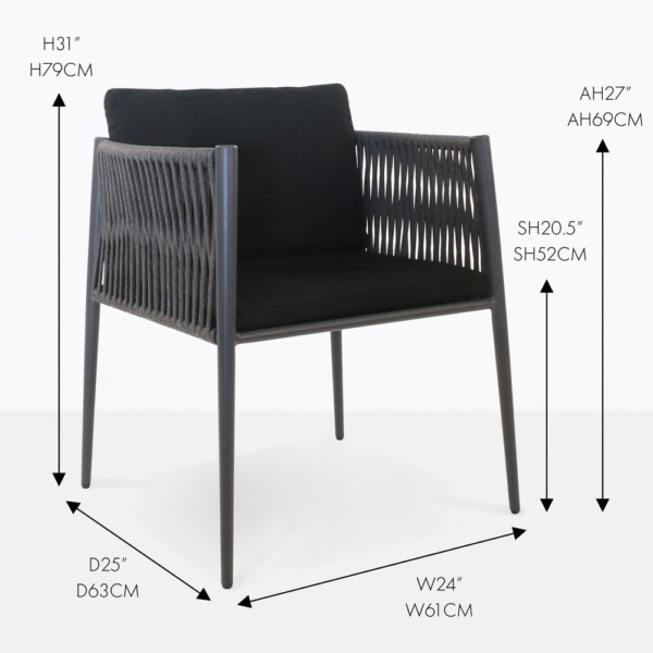 black rope outdoor dining chair