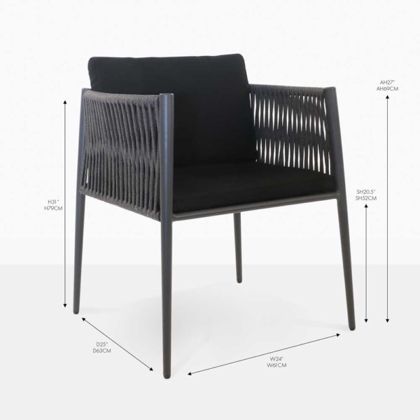 luna woven rope dining chair