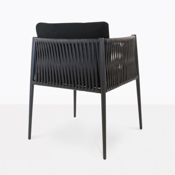 black rope outdoor dining chair with cushions
