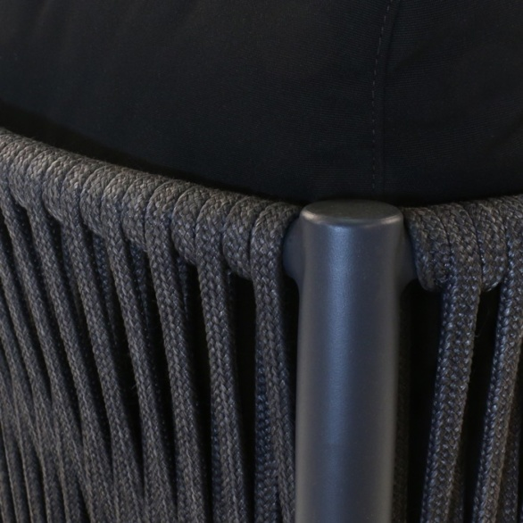 black rope and aluminum outdoor dining chair closeup