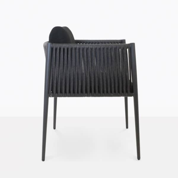 black rope outdoor dining chair side view