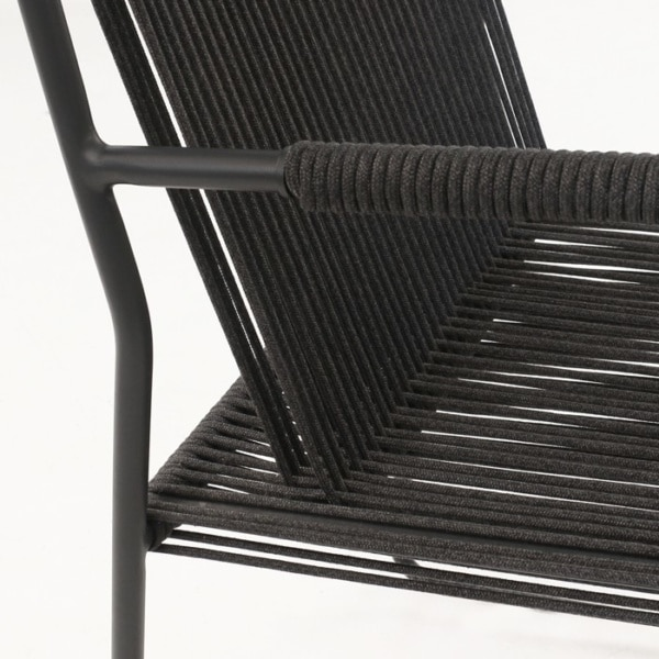 black rope chair closeup image