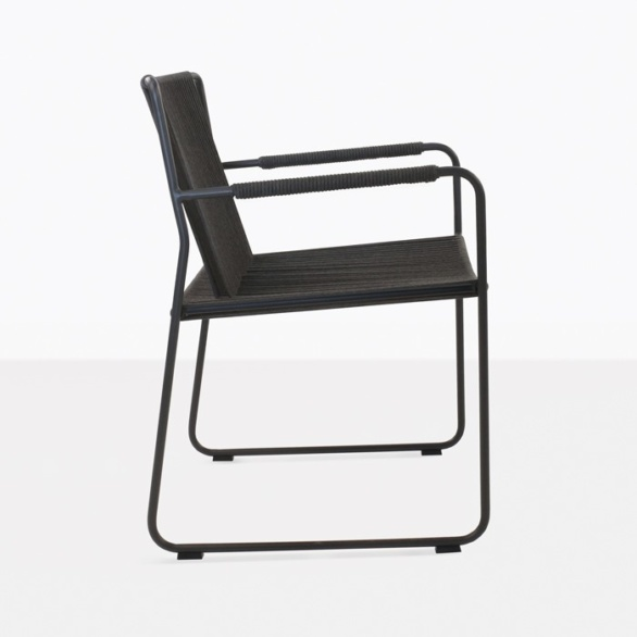 rope and aluminum dining chair side view