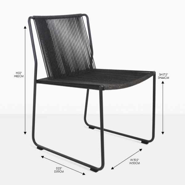 nero wicker rope dining side chair