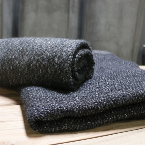 linen and wool throw in charcoal grey