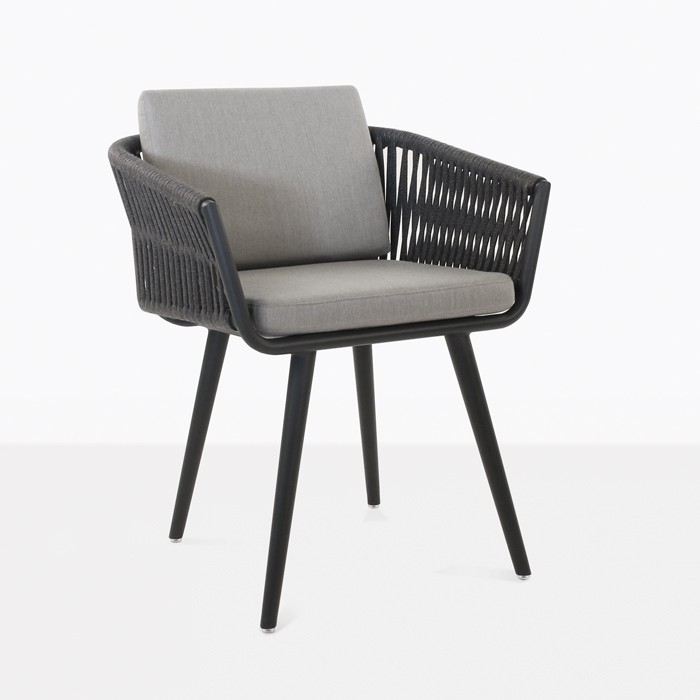 tessa rope outdoor dining chair black