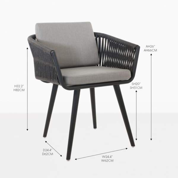 Tessa rope black dining chair