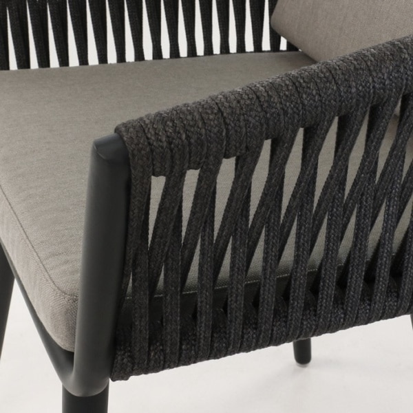 woven rope outdoor dining chair detail