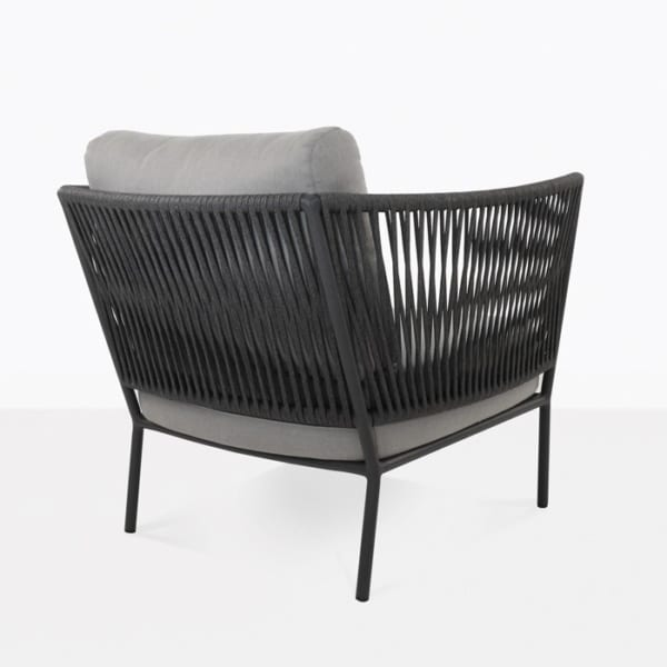 rope and aluminum lounge chair with cushions back view