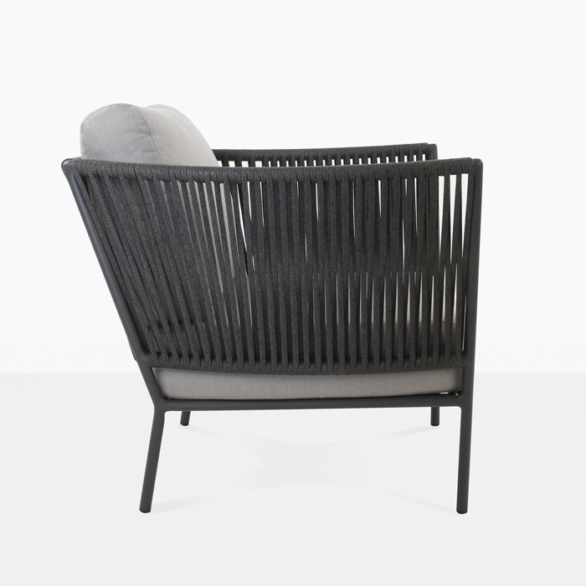 rope and aluminum lounge chair with cushions side view
