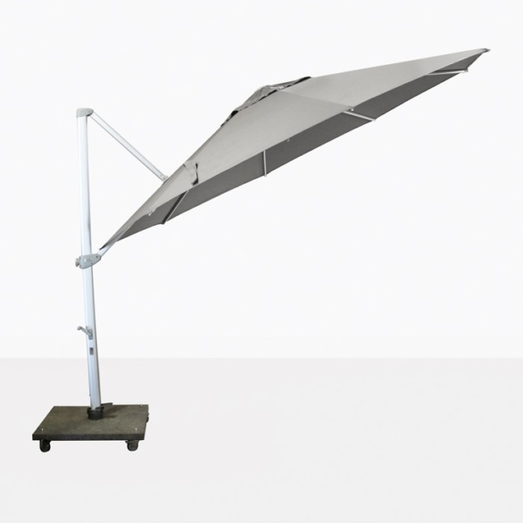tilted cantilever umbrella in grey
