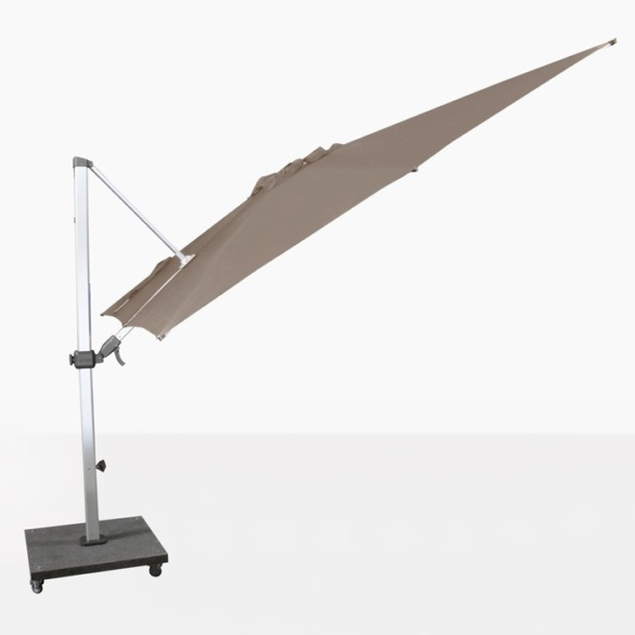 square cantilever umbrella on an angle
