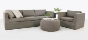 Antonio Wicker Sofa and Chair with ottoman