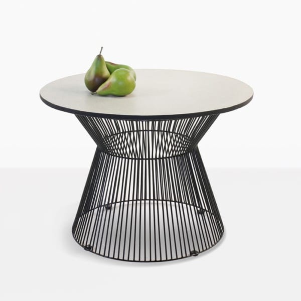 black and white deco round side table with fruit