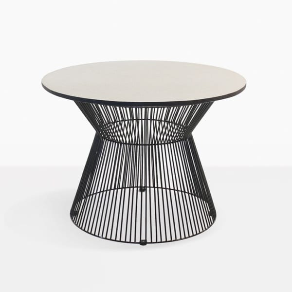 black and white deco round side table
