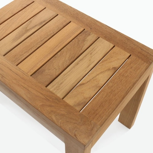 a-grade teak side table closeup image
