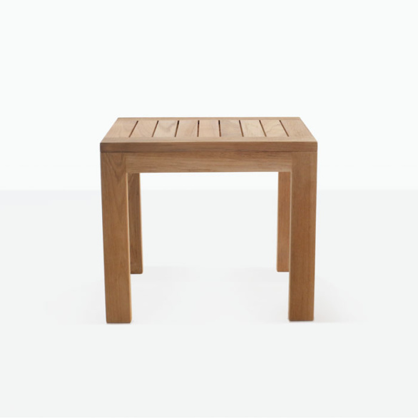 side view of teak accent table