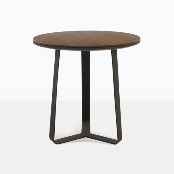 round teak and steel accent table