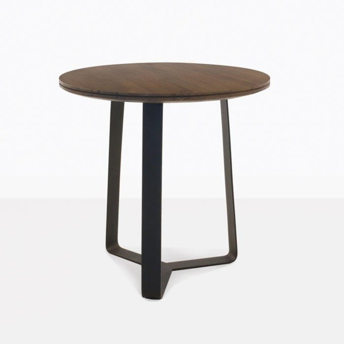 Round Steel And Teak Accent Table