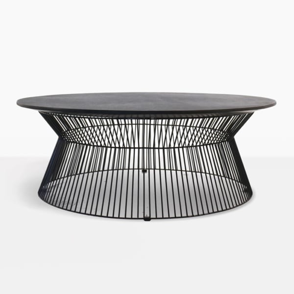 black round outdoor coffee table side view