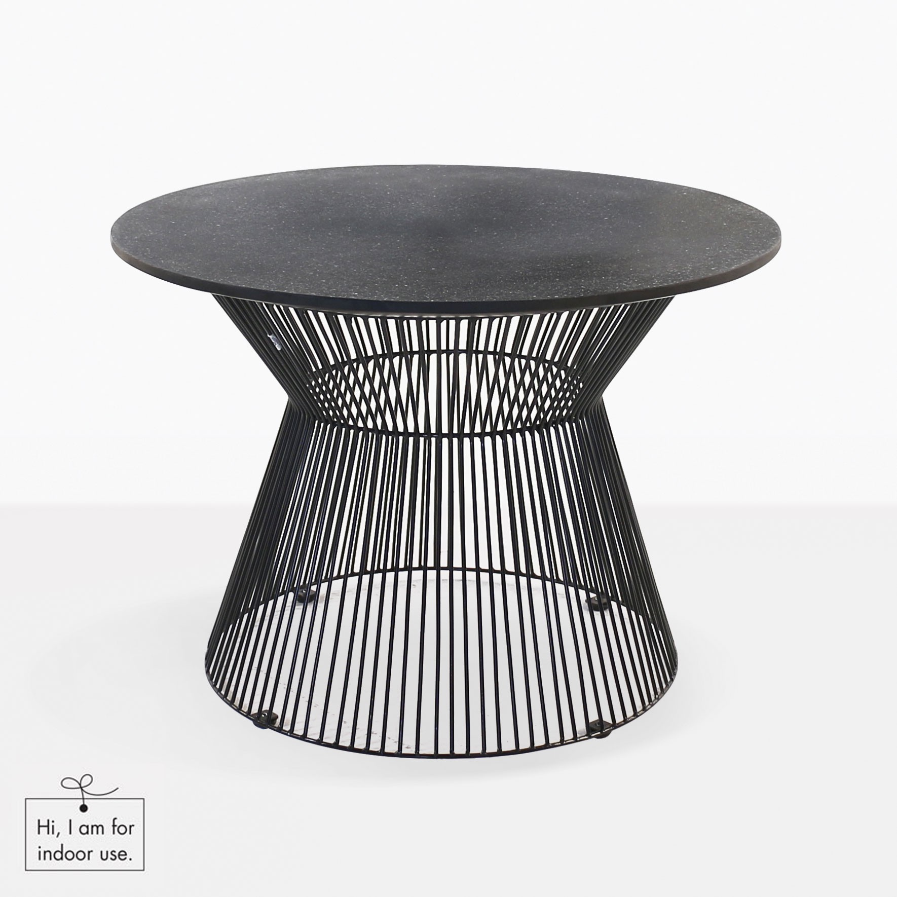 Deco Round Side Table Black Sand Outdoor Furniture Teak Warehouse