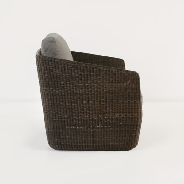 mocha wicker chair side view
