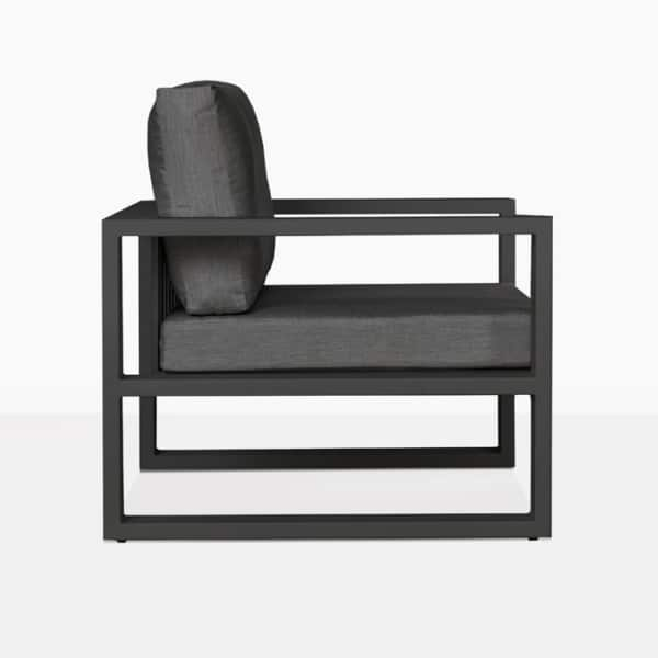 mykonos aluminum outdoor club chair in charcoal side view