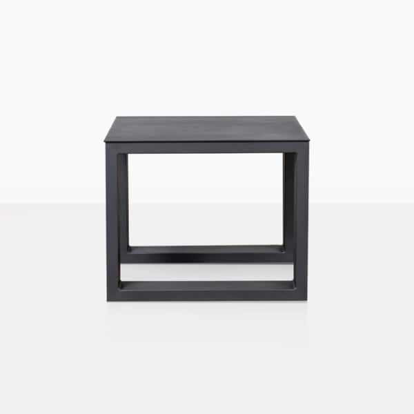 mykonos aluminum side table in charcoal side view