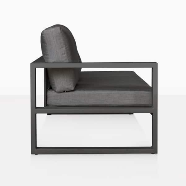 mykonos aluminum outdoor right arm sofa in charcoal side view