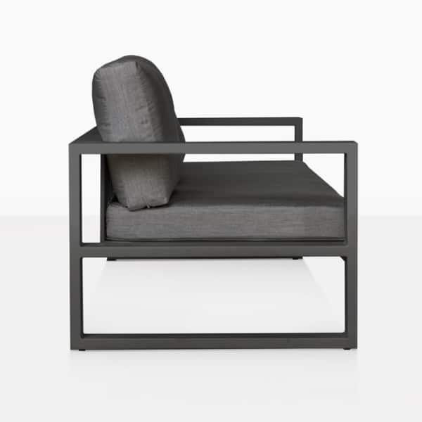 mykonos outdoor aluminum sofa in charcoal side view