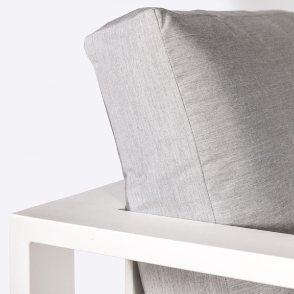 closeup view of mykonos outdoor aluminum loveseat in white