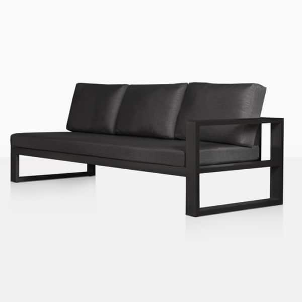 mykonos aluminum outdoor left arm sofa in charcoal