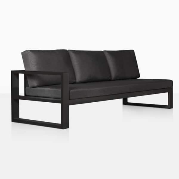 mykonos aluminum outdoor right arm sofa in charcoal