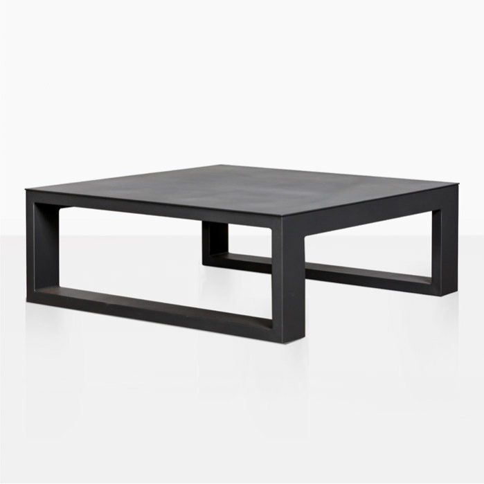 Mykonos Aluminum Square Coffee Table Black Teak Warehouse - Black aluminum outdoor coffee table