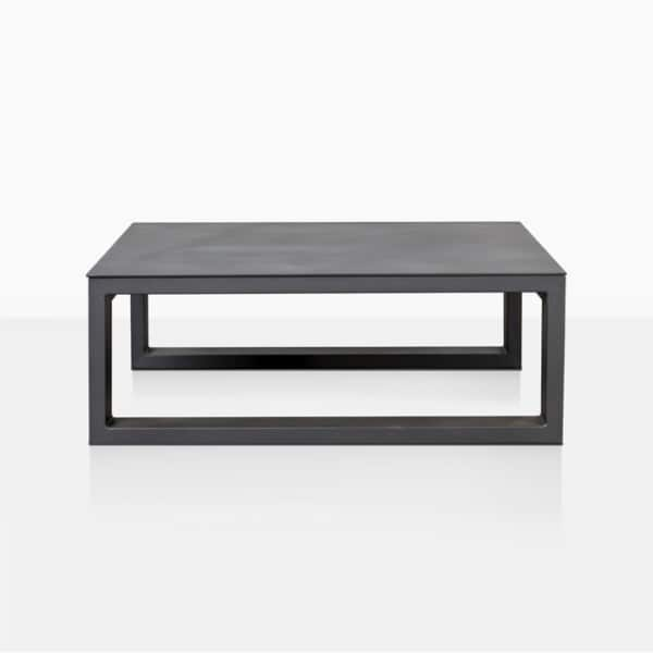 mykonos aluminum square coffee table in charcoal side view