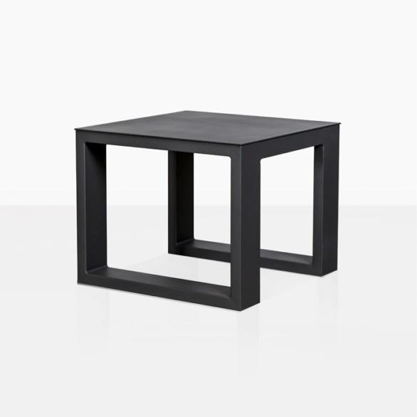 mykonos aluminum side table in charcoal