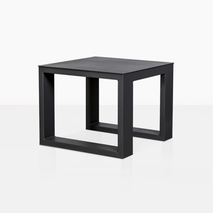 mykonos aluminum side table in charcoal