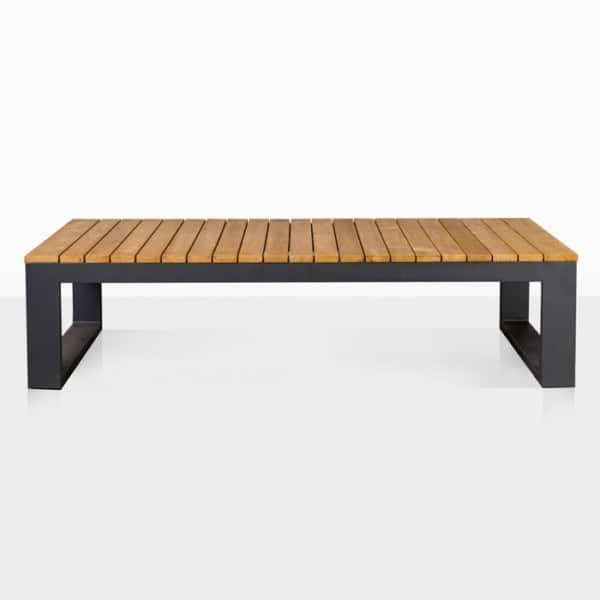 mykonos aluminum and teak coffee table in charcoal side view