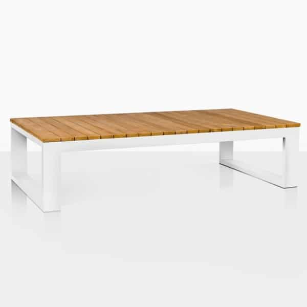 mykonos teak and aluminum coffee table in white