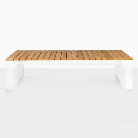mykonos teak and aluminum coffee table in white side view
