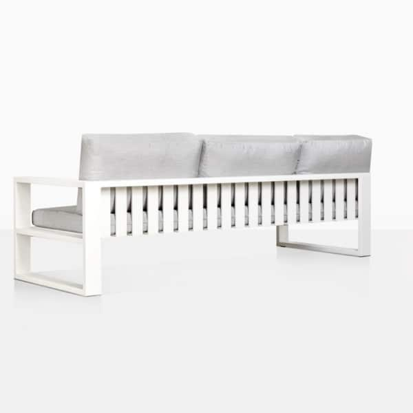 mykonos aluminum outdoor left arm sofa in white rear view