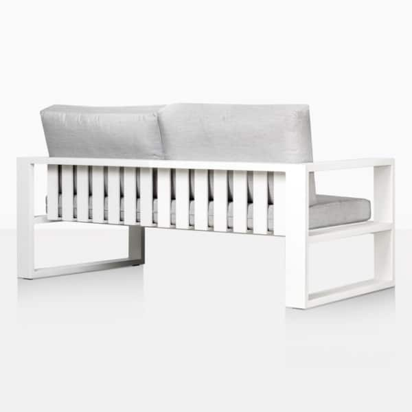 mykonos outdoor aluminum loveseat in white rear view