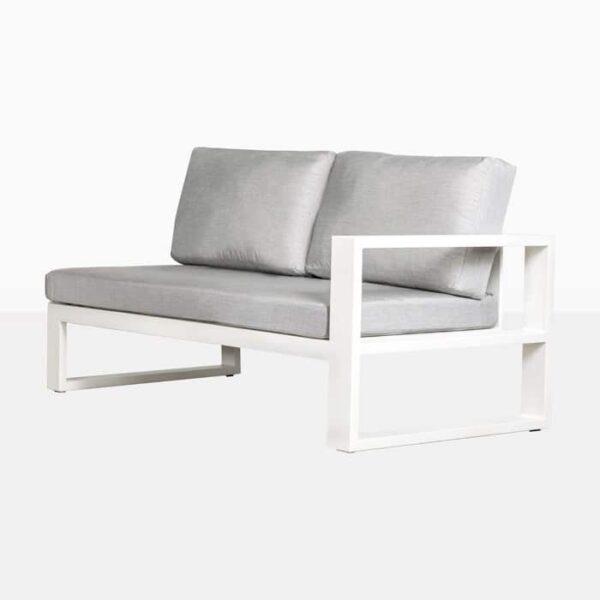 mykonos outdoor aluminum left arm loveseat in white